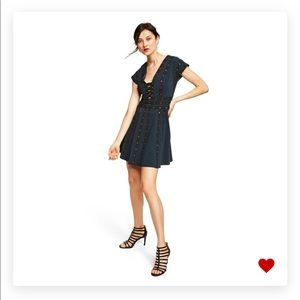 Short Sleeve Vneck Navy Mini Dress Jason Wu
